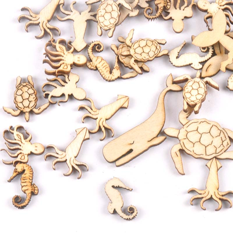 20Pcs 25-40mm Sea Turtle/horse/whale Wood DIY Crafts Home Decoration Handicraft Wooden Handmade Embellishments Arts M1938