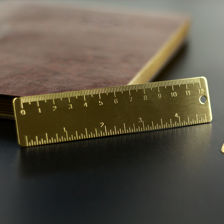1pc 12cm Small Ruler Brass Portable Straight Ruler Office School Supplies Accessory