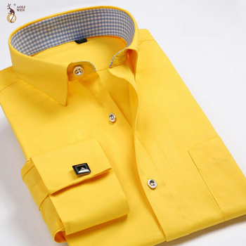 Aoliwen marka mężczyźni francuski mankiet koszula z długim rękawem flanelowe duże rozmiary 6XL wysokiej jakości jednolity kolor mężczyźni sukienka koszula smart casual tanie i dobre opinie CN (pochodzenie) COTTON Włókno poliestrowe Tuxedo koszule Pełna Skręcić w dół kołnierz Pojedyncze piersi REGULAR