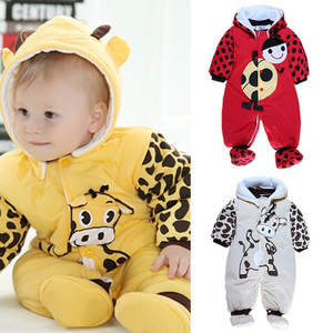 99d172b9bb96 Bebe Thicken Anmial Long Sleeve Romper for Winter Baby Cow/Ladybug Pattern  Jumpsuit for Boy and Girl Infant Warm Bodysuit