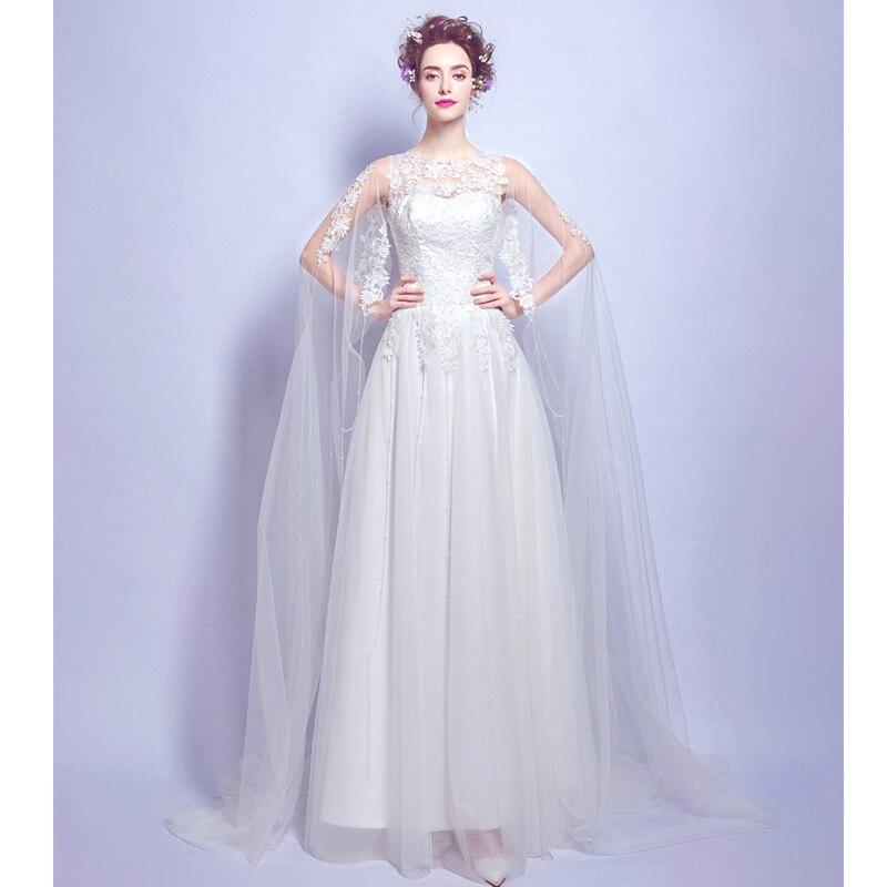 Cheap Korean Simple O Neck White Lace Wedding Dress 2017 Plus Size ...