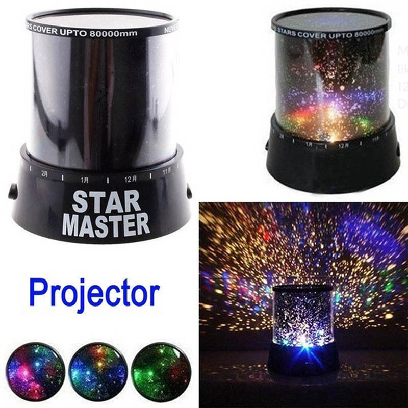 LED Night Light Projector Starry Sky Star Moon Master Children Kids Baby Sleep Romantic Colorful AA Bettery Powered Projector