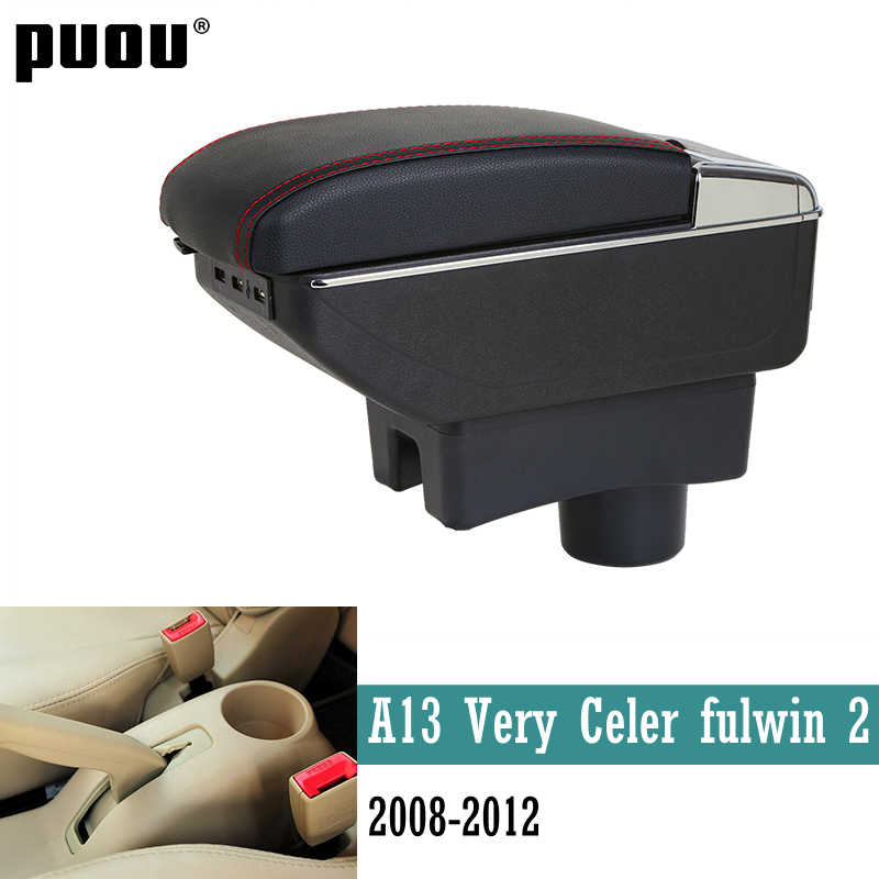 Rotatable Armrest For Chery A13 Very Celer fulwin 2 2008-2012 Center Centre Console Storage Box ashtray Cup holder Car accessori