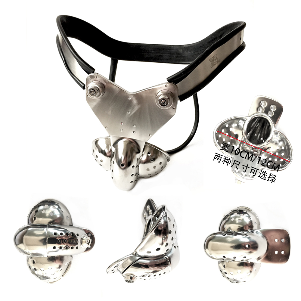 Stainless Steel Male Chastity Belt With Big Scrotum Groove Cock Cage Penis Lock Cock Ring Chastity