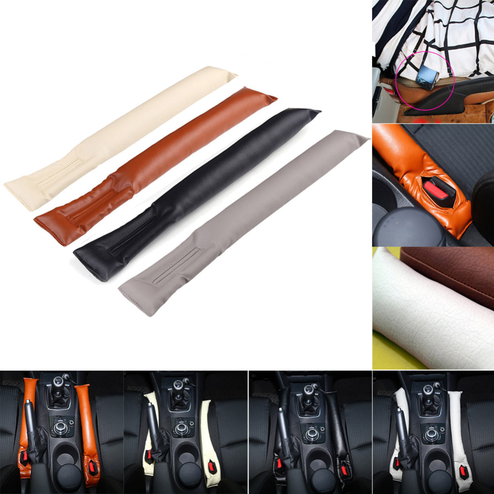 Car Seat Gap Filler PU Leather Auto Seats Leak Stop Pad Soft Padding Spacer..
