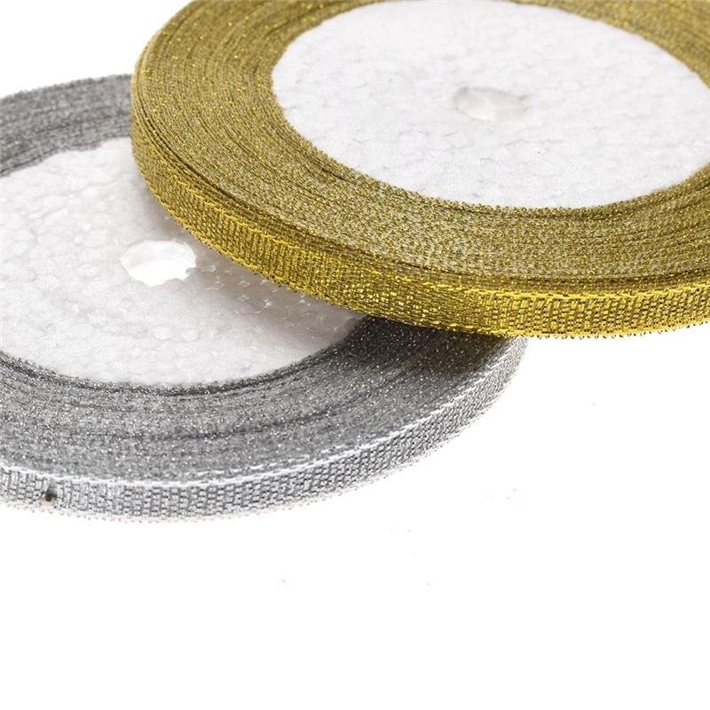 2018 25 метров 6 мм Модные Шелковые атласная лента для ручной работы Вечерние Главная Свадебные для упаковки подарков золото/серебро Прямая доставка