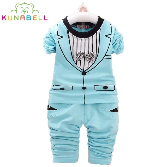 Bebê Ternos Formais 2 pcs Bow Tie Gentlemen Clothing Set Meninas Recém-nascidas Outfits + Calças Listradas Infantil Terno Dos Esportes Roupas L148