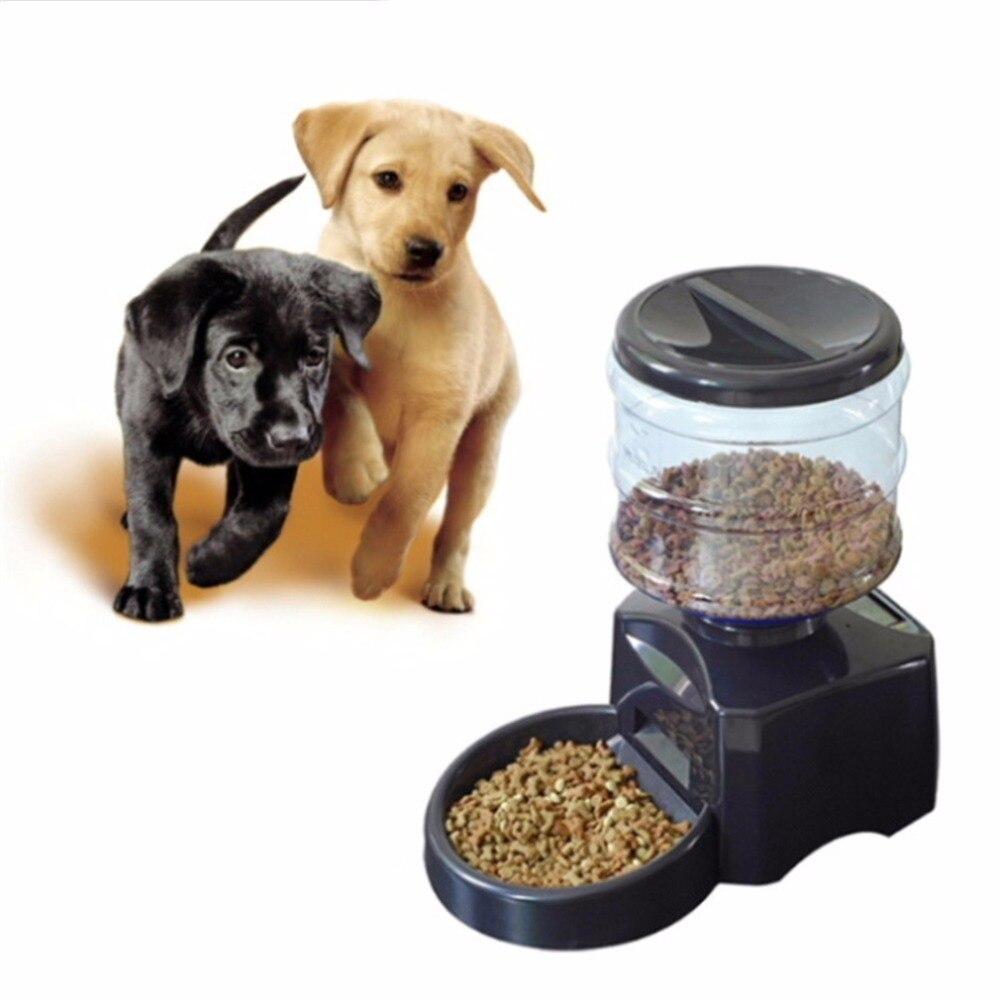 5.5L Automatic Pet Feeder com Gravação de Mensagem de Voz e Tela de LCD Grande Tigela de Comida para animais Cães Gatos Inteligente Dispensador Preto