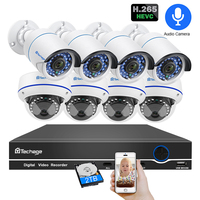 Techage 8CH POE 1080 P безопасность NVR наборы для ухода за кожей 2MP Аудио Звук CCTV камера системы купол пуля Крытый наружного наблюдения 2 ТБ HDD