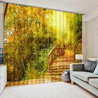 Modern Fantasy Green Forest 3D Luxury Blackout Window Curtains For Bedding Room Living Room Hotel Drapes