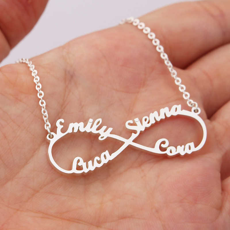 Stainless Steel Custom Name Necklace Personalized Rose Gold Silver Infinity Pendant Friendship Necklace Jewelry Best Friend Gift