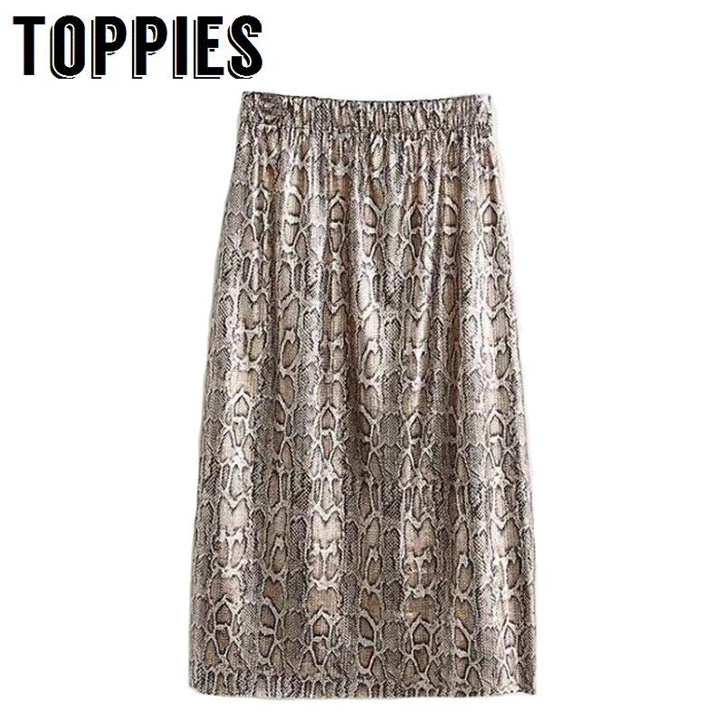 Autumn and Winter Snake Print Long Skirt Sequined High Waist Skirt Lady Fashion Streetwear 1