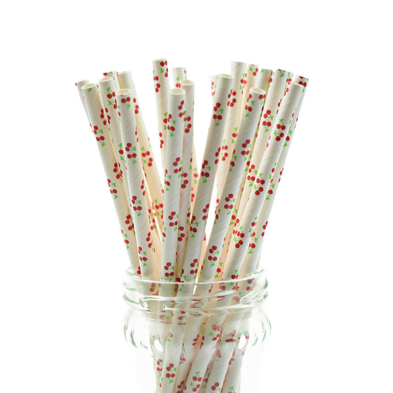 25pcs Cherry Paper Straws Kids Birthday Party Wedding Decor Bridal Shower Hawaiian Jungle Luau Chevron Drinking Paper Straws DIY