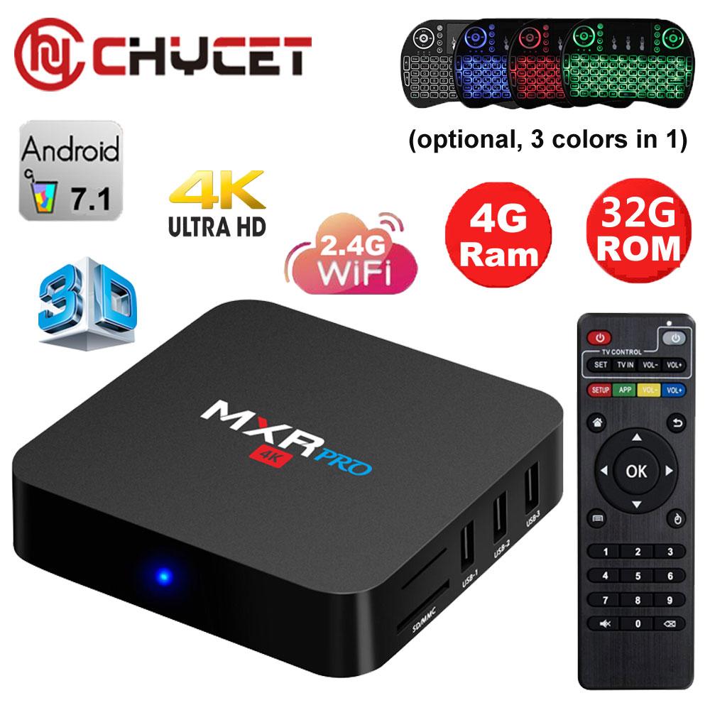 все цены на Chycet MXR PRO 4GB 32GB Android 7.1 TV BOX RK3228 Quad Core HDMI USB 3.0 3D 4K WIFI Smart TV BOX Media player Set top boxes онлайн