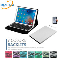 2017 New High Quality Removable Bluetooth Tablet 7 Colors LED Backlight Aluminum Keyboard For IPad Pro