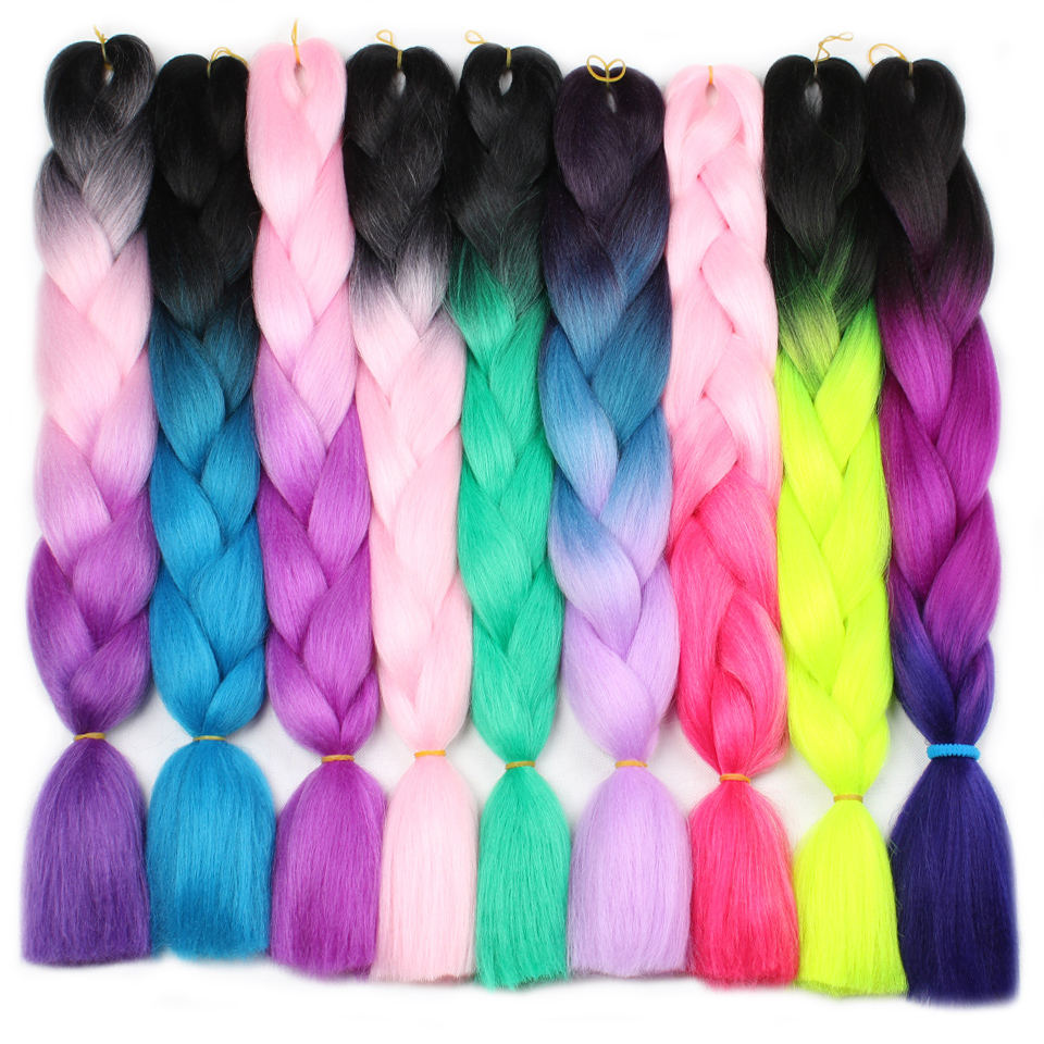 Hair Extensions & Wigs Hair Braids Enthusiastic Leeven Kanekalon Synthetic Black Ombre Braiding Hair Jumbo Braids Crochet Hair Extention Blue Pink Purple Fiber 24 100g 1pcs Punctual Timing