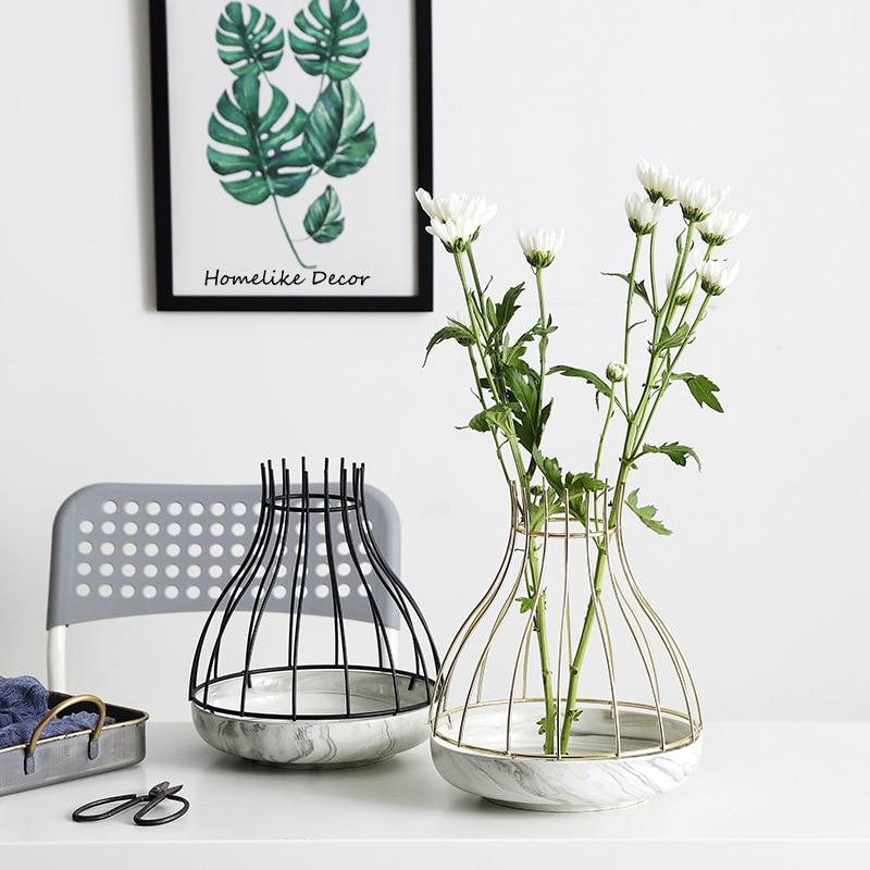 1pc Marble Vase Modern Ceramic Flower Vase with Gold Black Iron Shelf Home Decorative Water Planting Pot