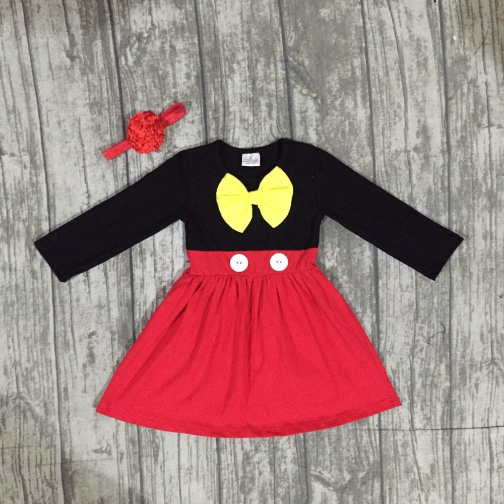 baby girls Fall winter dress girls cute party dress children kids minnie red stripes dress long sleeve boutique dress with bows