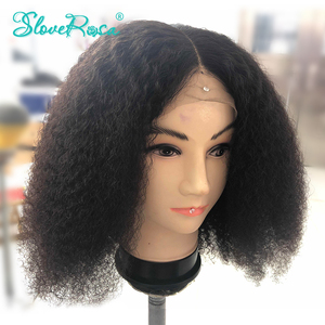 Image 3 - 13X4 레이스 프론트 숏 밥 가발 150% Afro Kinky Curly 인간의 가발 Pre Plucked Bleached Knots 레미 몽골어 헤어 가발 Slove Rosa