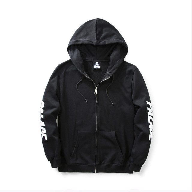 Brand Clothing Men PALACE Sleeves Print Jacket Hoody Solid Black Cotton Outcoat 2017SS Fashion Hip hop Streetwear Zippers Coat