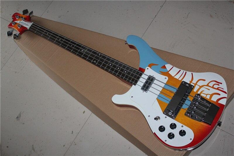Бесплатная доставка Новый Одежда высшего качества музыкальный инструмент левша пользовательские Multi 4 цвета строки 4003 Рик электрический ба