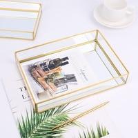 Gold rimmed Glass Storage Tray Desktop Storage Decorative Tray Golden Vintage Jewelry Plate Decoration
