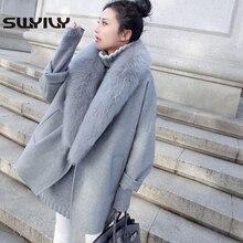 SWYIVY Woman Woolen Jacket Coats Large Fur Collar Warm 2018 Winter New Female Loose Coat Long Desgin Outwear