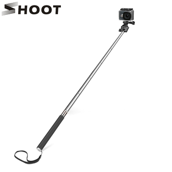 SHOOT for GoPro Hero 8 7 5 Black Selfie Stick Monopod for Go Pro Hero 8 5 7 Black Dji Osmo Sjcam Xiaomi Yi 4K Eken H9 Accessory handheld gimbal adapter switch mount plate for gopro 6 5 4 3 3 yi 4k camera for dji osmo for feiyu zhiyun smooth q gimbal