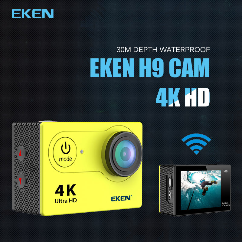 New Arrival!Original Eken H9 / H9R Ultra HD 4K Action Camera 30m waterproof 2.0' Screen 1080p sport Camera go extreme pro cam battery dual charger bag action camera eken h9 h9r 4k ultra hd sports cam 1080p 60fps 4 k 170d pro waterproof go remote camera
