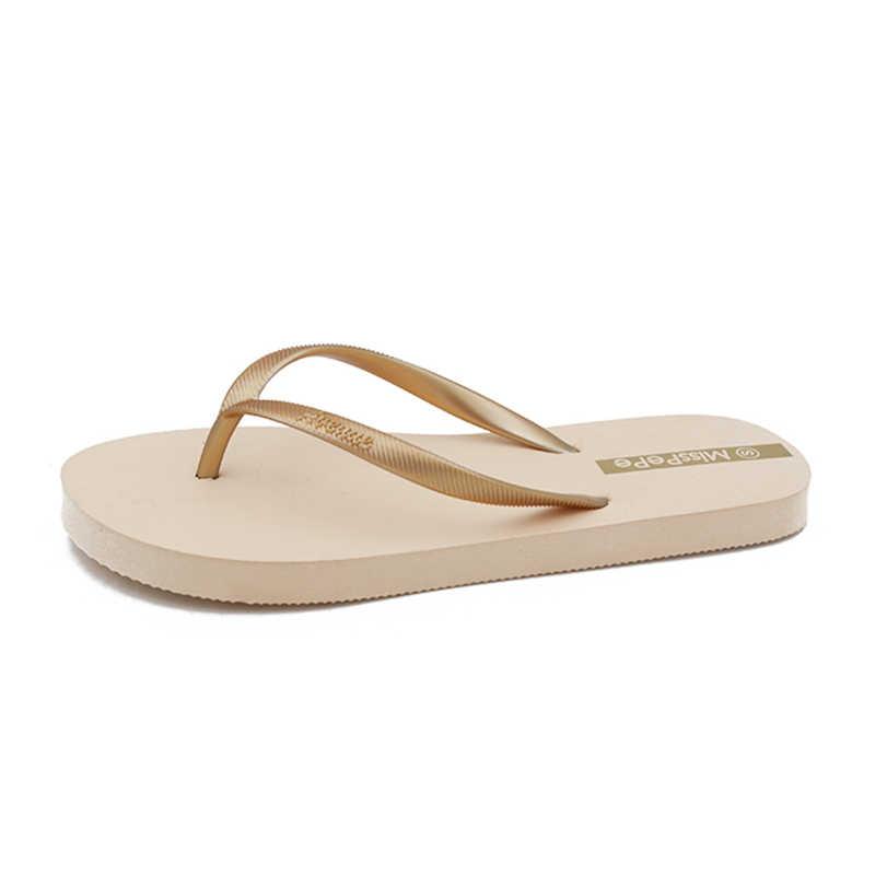 Plardin รอบ toe แบนรองเท้าแตะสีขาวหนังรองเท้าแตะ flip flops รองเท้าแตะ 2019 ฤดูร้อนผู้หญิงรองเท้าแตะ slip on