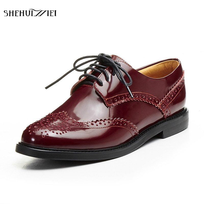 SHEHUIMEI Women Flats Oxfords Shoes 2018 New Vintage Genuine Leather Women Lace-up Casual Brogue Shoes for Women Handmade Shoes 2017 new handmade women flats genuine leather oxfords shoes woman fashion ballets flats casual moccasins for women sapatos mujer