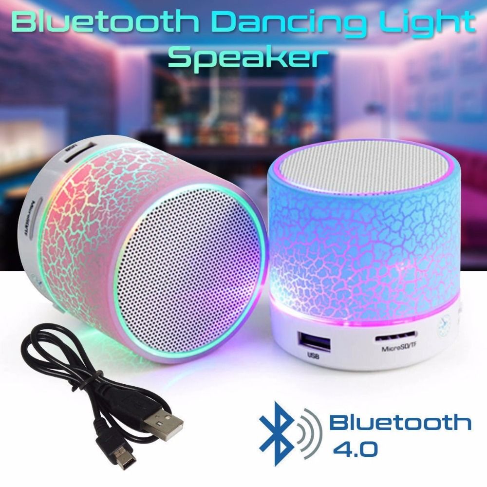 Bluetooth Speaker Column LED Mini Wireless TF USB FM Portable Music Loudspeakers Hand-free call For iPhone 6 Phone PC with Mic portable mini led bluetooth speakers wireless small music audio tf usb fm light stereo sound speaker for phone xiaomi with mic