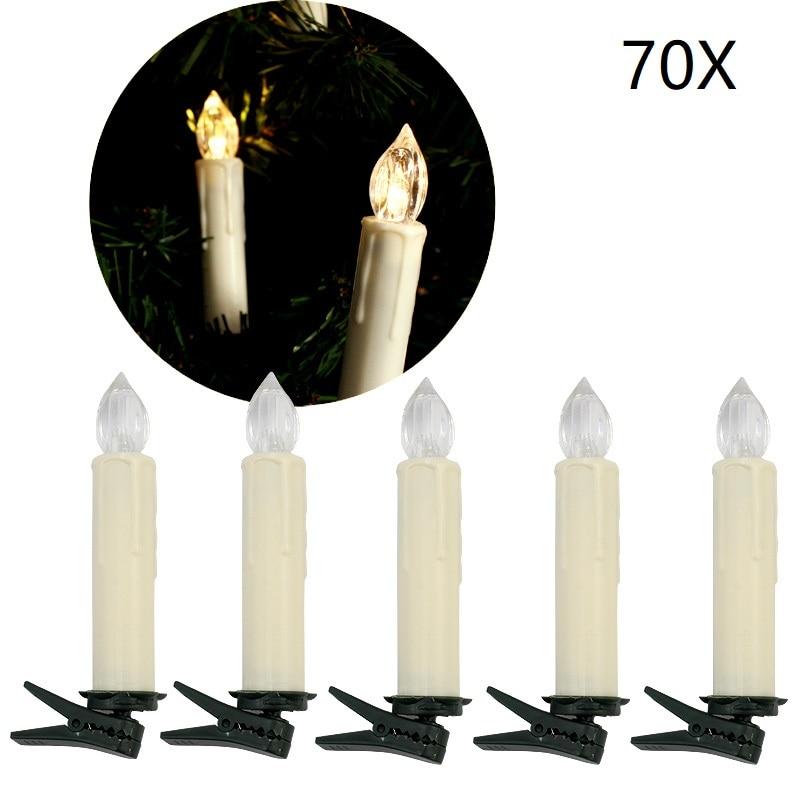 70 pcs Flameless LED Christmas Candle Warm White Fairy Tale Lighting Decorative light Festival Wedding Party Home Decor