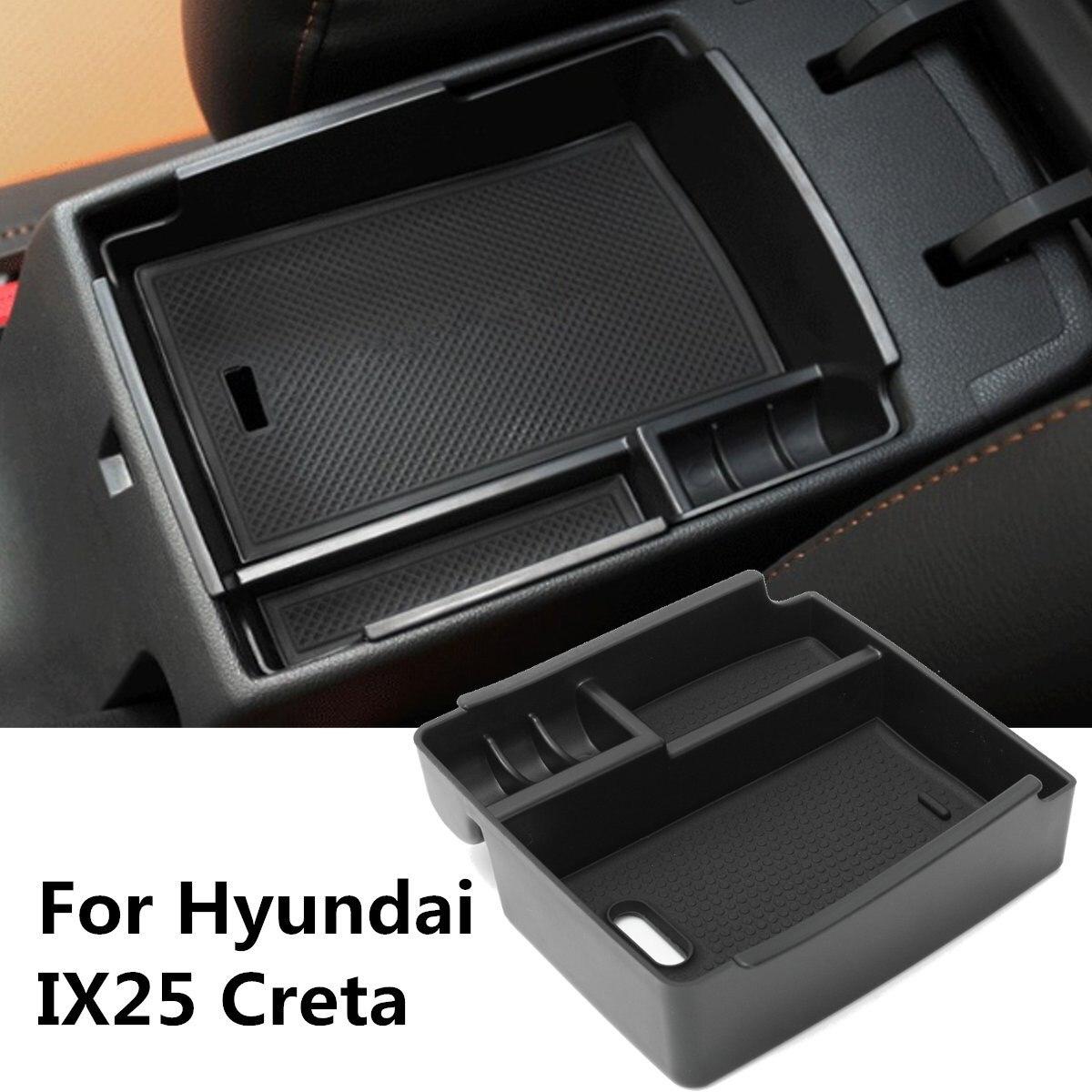 Noir Voiture Central Console Accoudoir Boîte De Rangement Tasse Téléphone Plateau Pour Hyundai IX25 Creta 2015 2016