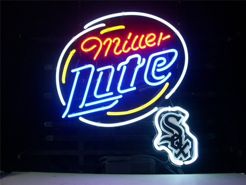 NEON SIGN For CHICAGO WHITE SOX MILLER LITE Signboard REAL