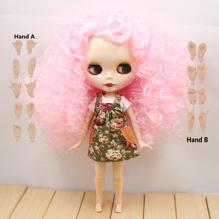 все цены на 280BLQE126107 Toy Gift pink curly hair side parting free shipping factory blyth doll nude doll bjd neo 1/6 30cm joint body