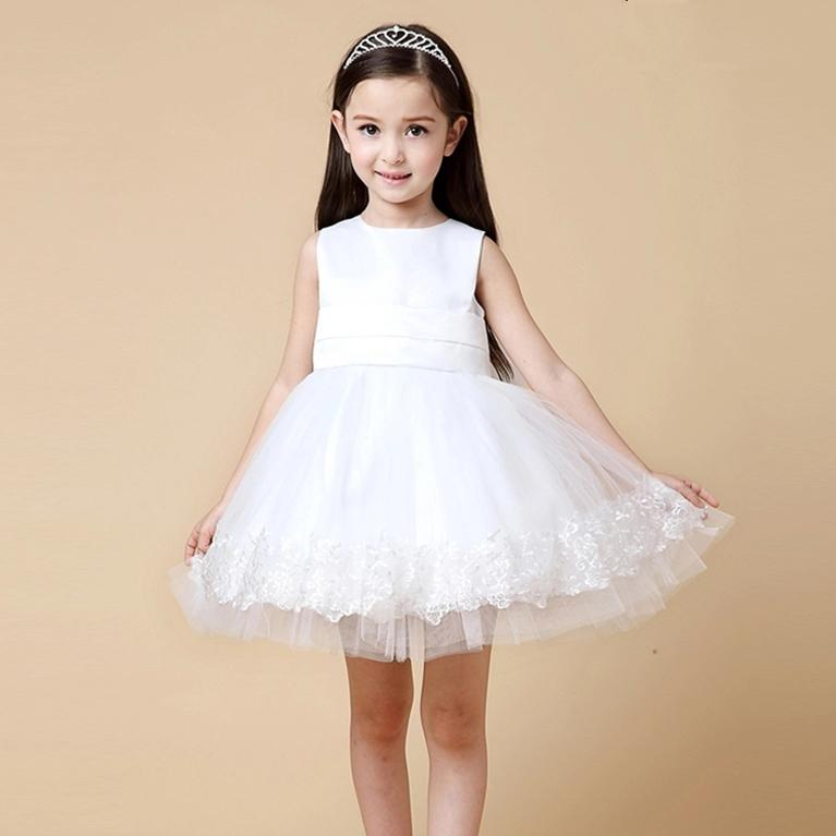 HOT White Pink New Design Girls Dress Party Wear Vestidos Formal Big Bowknot On Back For 2 3 4 6 8 10 12 Years Old Girl KD-1413 long criss cross open back formal party dress