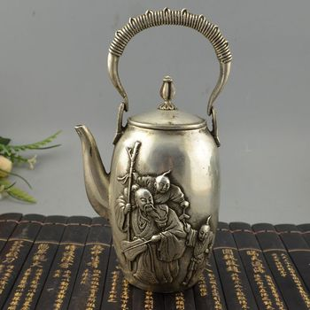Chinese Silver Man People Tongzi Boys Kid Wine Teapots Flagon