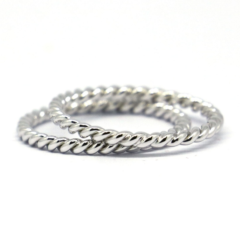 2 Pices of Solid 925Sterling Silver Rope Stack Rings
