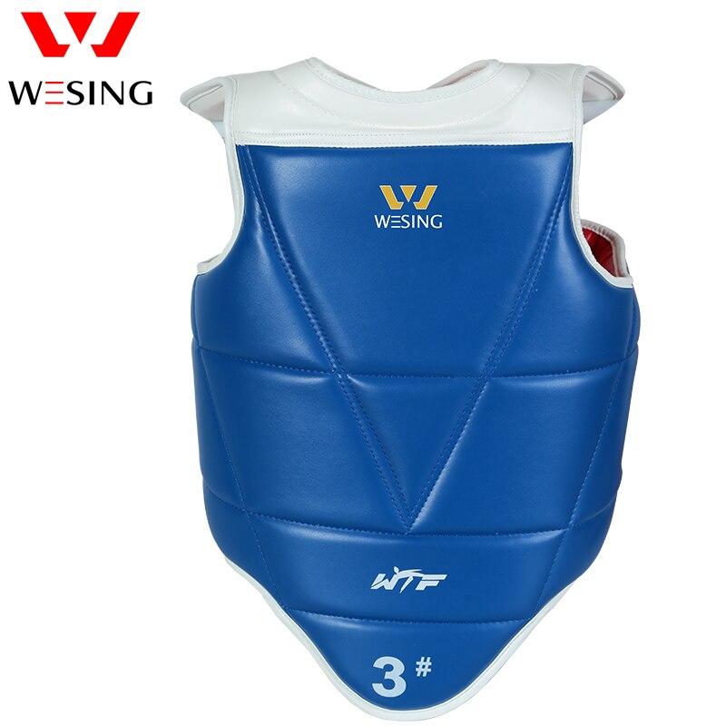 Wesing WTF אושר טאקוונדו מגן מגן החזה המשמר Microfiber עור טאקוונדו חזה מגן שני הצדדים ללבוש