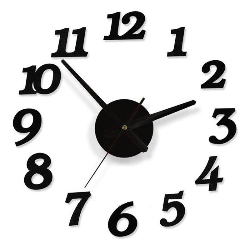 45X45cm Quality Acrylic Crystal Interesting Diy Clock Combination Digital  Wall Clock Brief Quieten Best Home Decoration