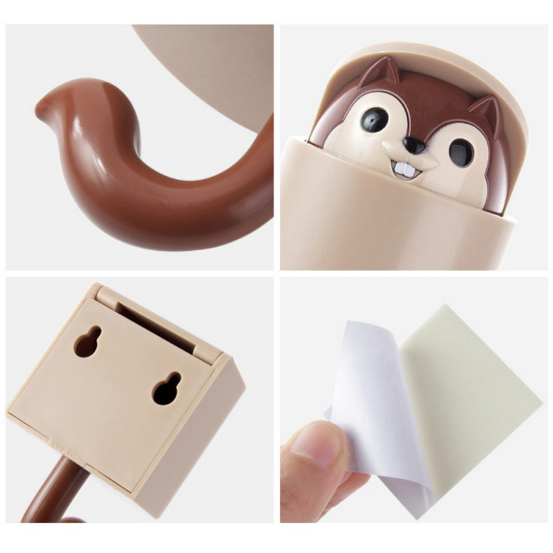 Image 4 - Wall Mounted Adhesive Plastic Cartoon Squirrel Decorative Hooks Coat Hanger Hat Rack Key Sundries Organizer-in Hooks & Rails from Home & Garden