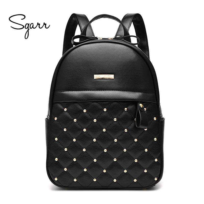 SGARR High Quality PU Leather Women Backpack Casual Students School Bag For Teenager Girls New Fashion Female Rivet Travel Bag free shipping fashion new women backpack high quality pu leather girl shoulder bag crocodile pattern rivet travel mini backpack