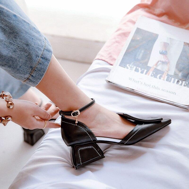 Janes Talon Blanc Conception Noir Bout À Pompes Mode Confort Lady En Cuir Faible Mary Femmes blanc Printemps Chaussures Carré La 780xwF7