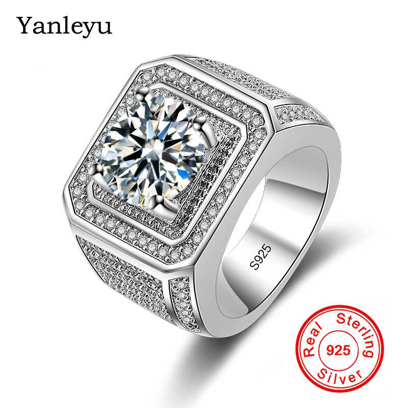 Yanleyu Victoria Wieck Mannen Mode Sieraden Solid 925 Sterling Zilver Grote 2 Karaat Ronde Cz Solitaire Ring Wedding Band Ring ZR024