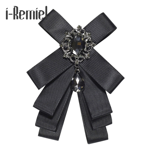 Я-Remiel серебряной ткани со стразами цветок лук брошь значки и броши корсаж Harajuku блузка воротник рубашки аксессуары Для мужчин