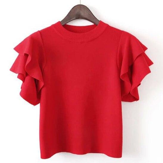 Volante de las mujeres de los Cultivos de Manga Corta Camisa de Punto Jersey