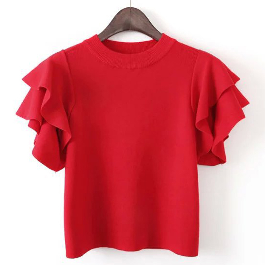Women Ruffle Short Sleeve Crop Knit Jersey Shirt