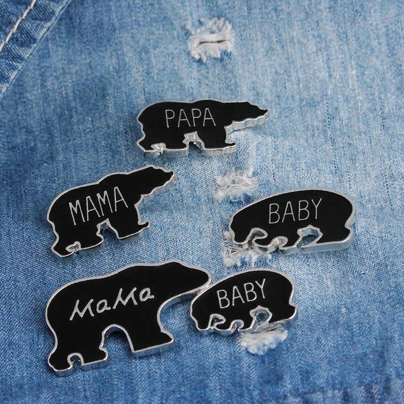 การ์ตูนน่ารักสีดำครอบครัวหมีเข็มกลัดสัตว์หมีแม่พ่อเคลือบ Pins เข็มกลัดแฟชั่นผู้หญิง Badge เครื่องประดับ