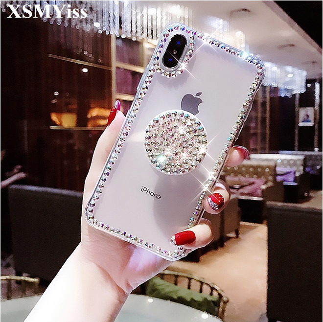 XSMYiss Bling Phone Case For Samsung A9 A8 A6 PLUS A50 A70 A80 Transparent Diamond Ring Holder Cases For Samsung j4 j6 j8 2018 image